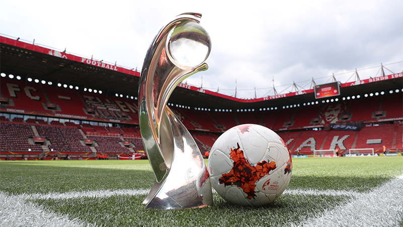 UEFA Women's Euros Trophy and football